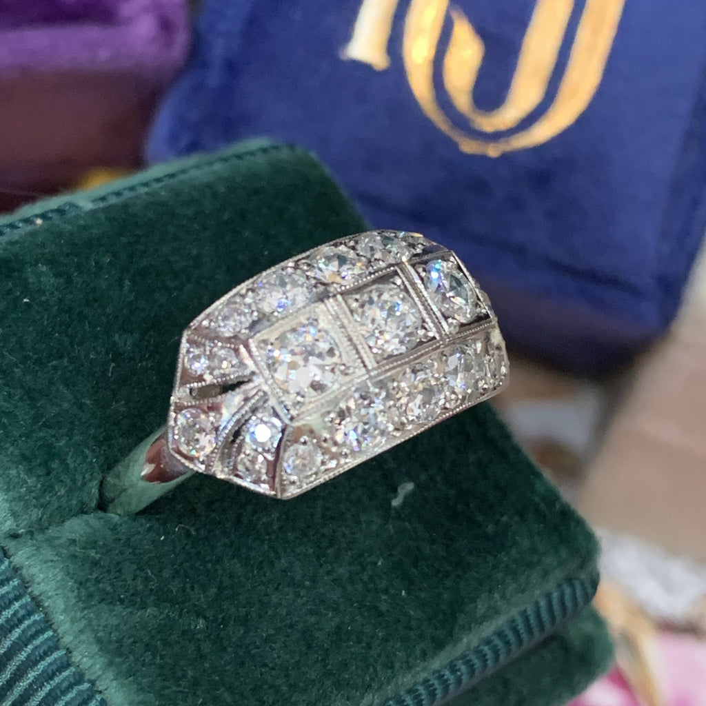 1.00 Carat Diamond Art Deco Dress Ring in Platinum