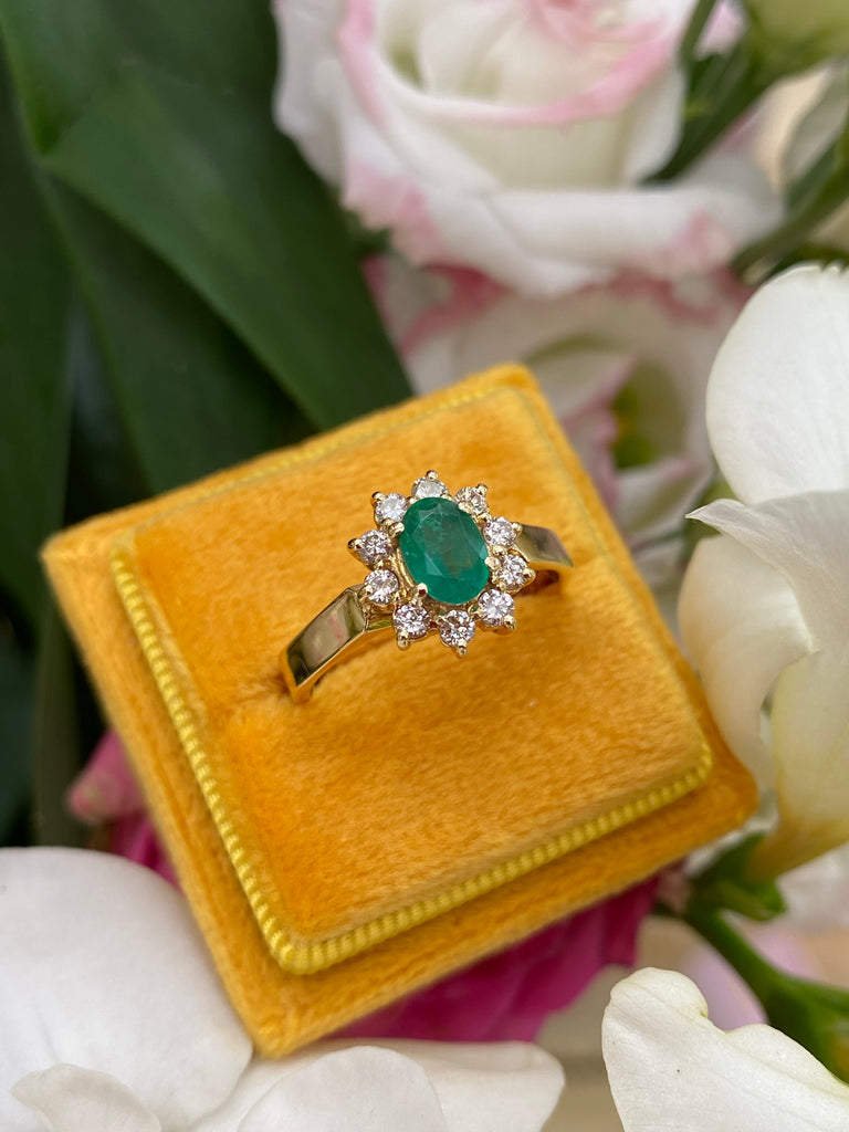 VIntage Oval Emerald and Diamond Halo Engagement Ring