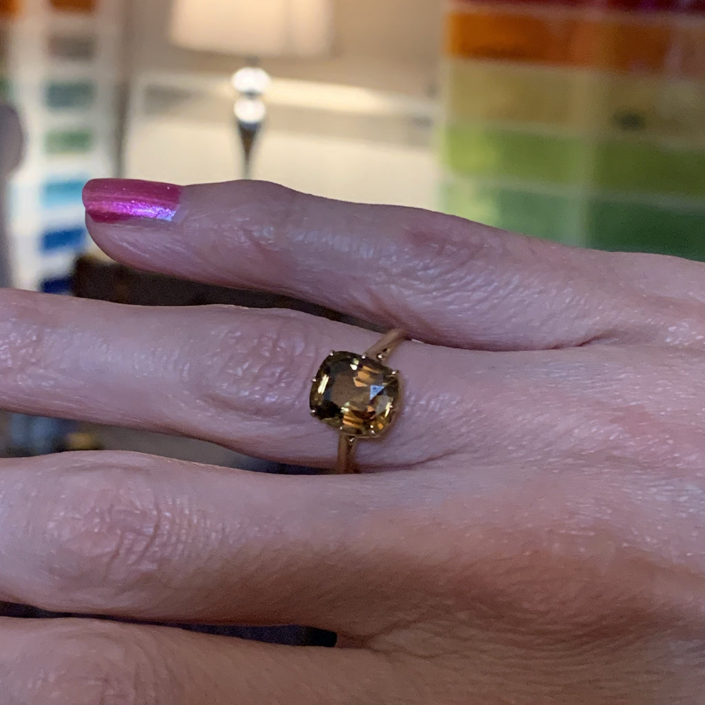 3.50 Carat Heliodor Ring in 18ct Yellow Gold