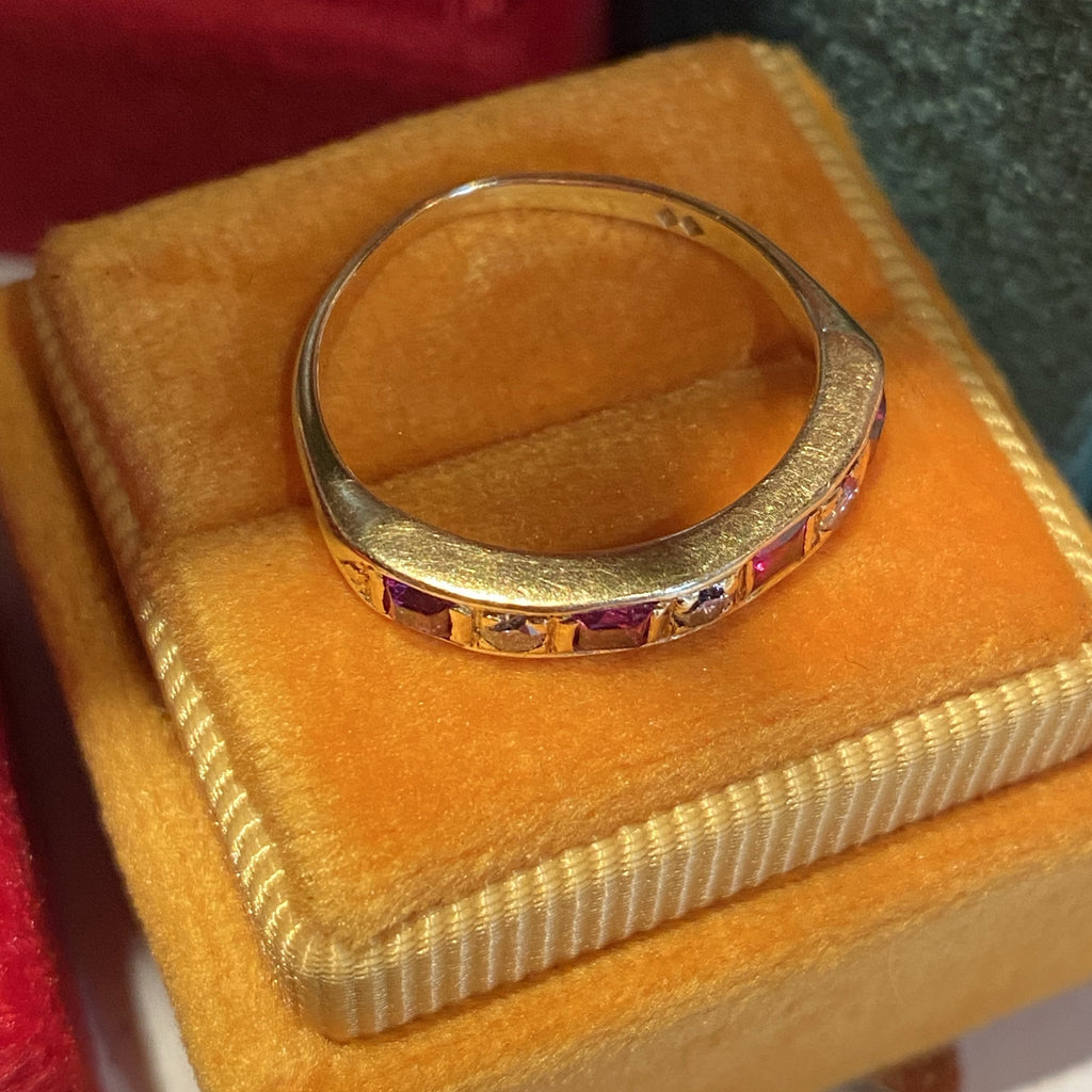 Vintage Ruby and Diamond Half-Eternity Band in Yellow Gold