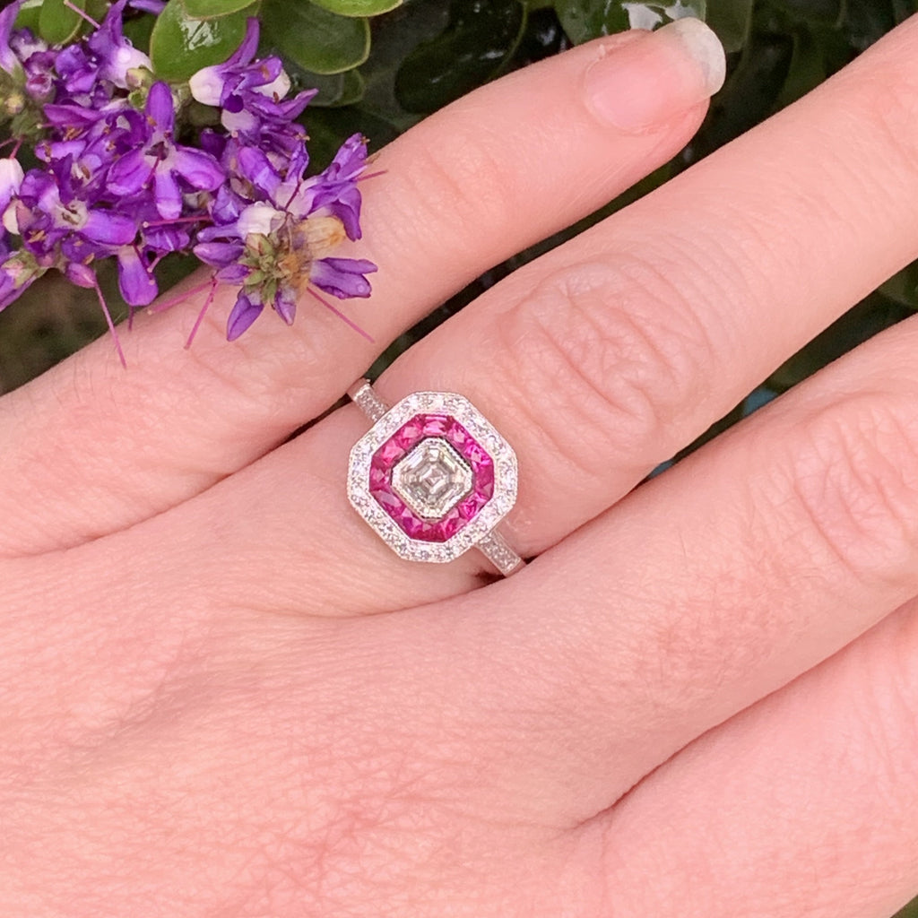 Diamond and Ruby Art Deco Halo Target Engagement Ring