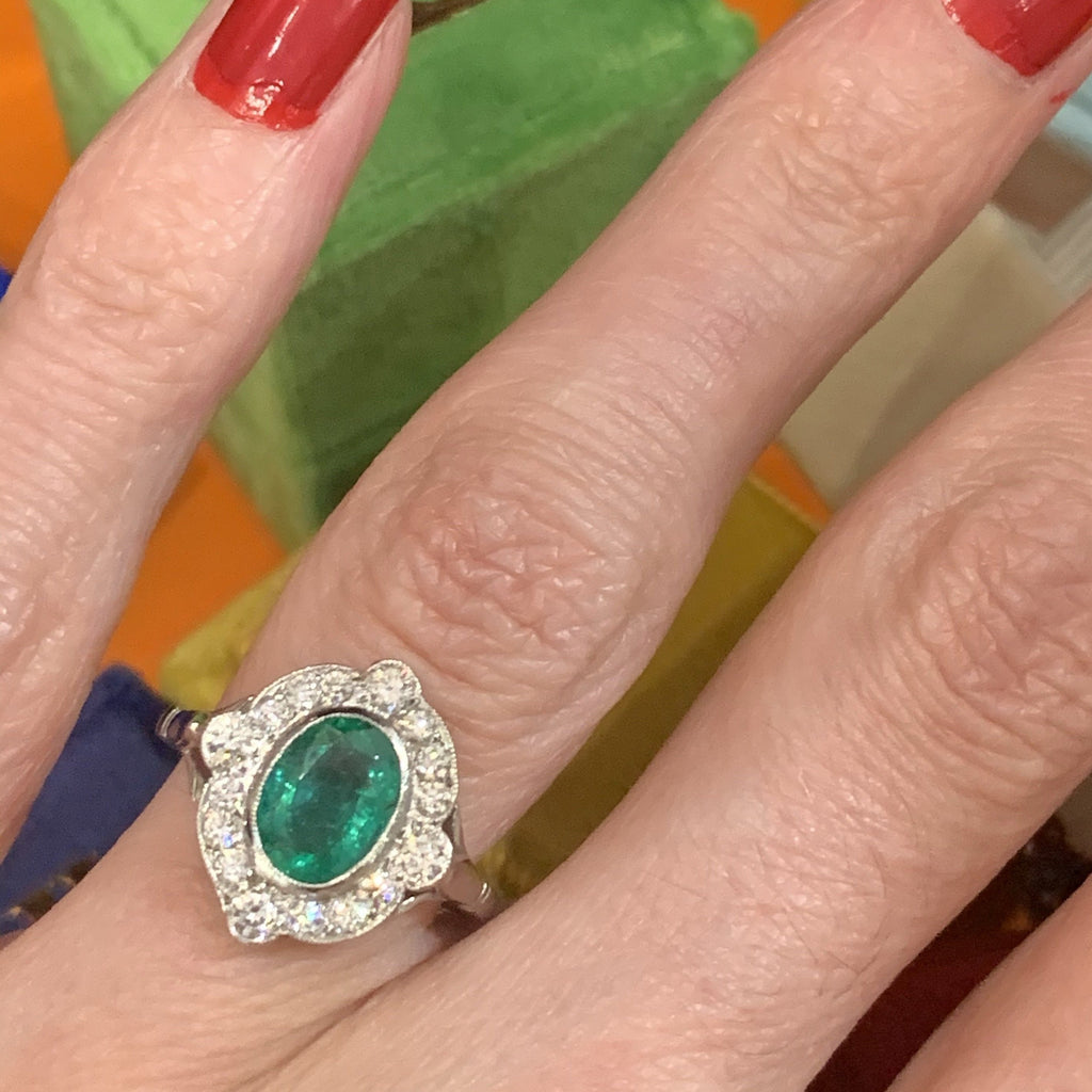 1.10 Carat Zambian Emerald and Diamond Compass Halo Ring in Platinum