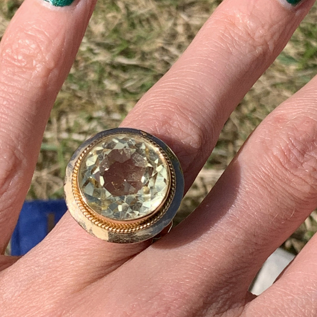 20 Carat Vintage Citrine and Yellow Gold Cocktail Ring