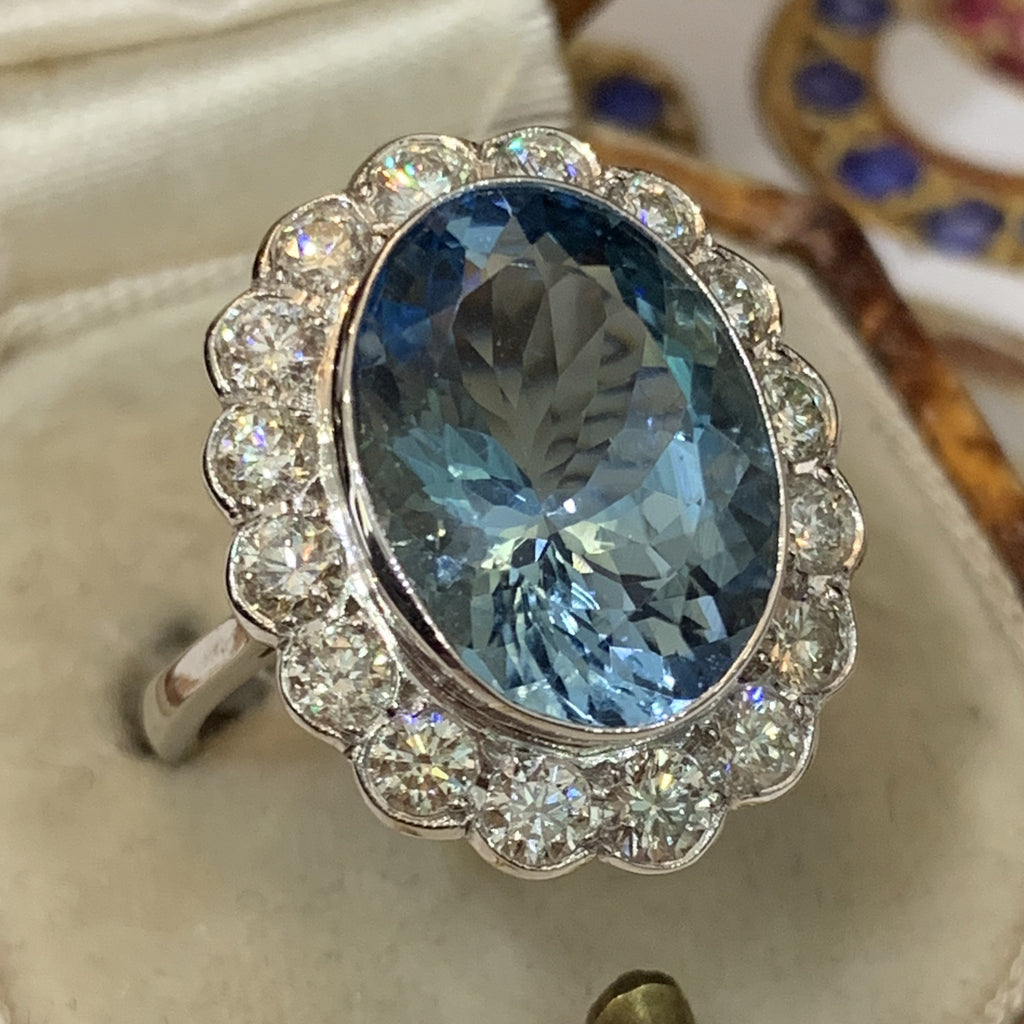 6.82 Carat Aquamarine and Diamond Cluster Ring