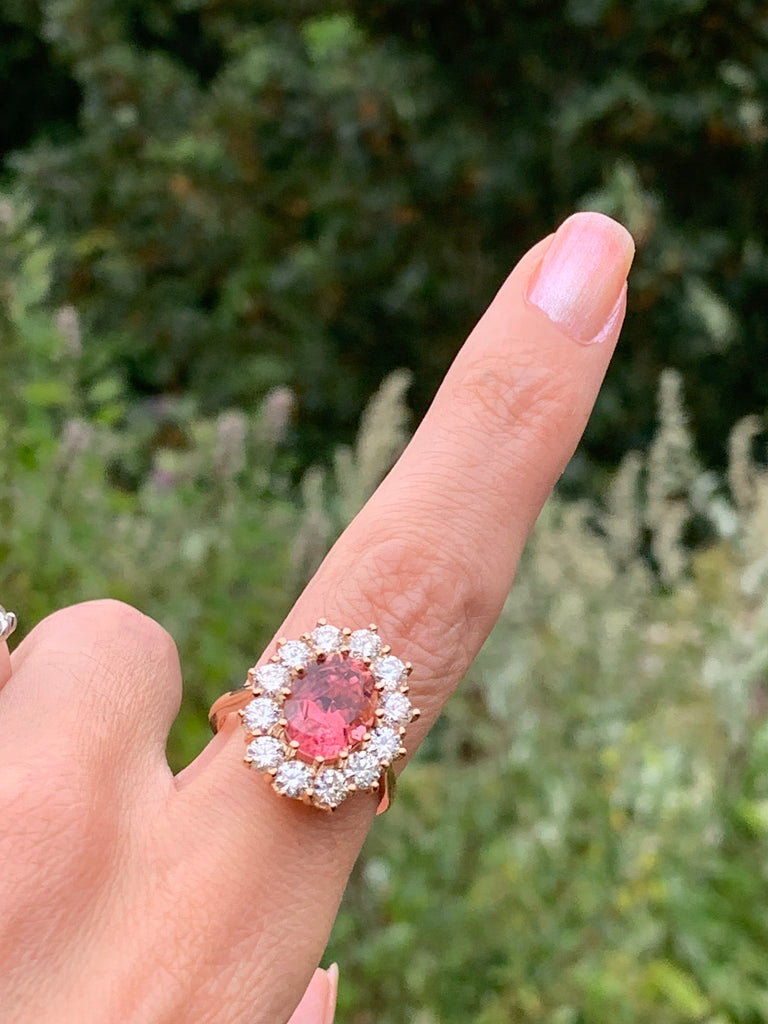 5.05 Carat Oval-Cut Pink Tourmaline and Diamond Halo Ring in 18K Rose Gold