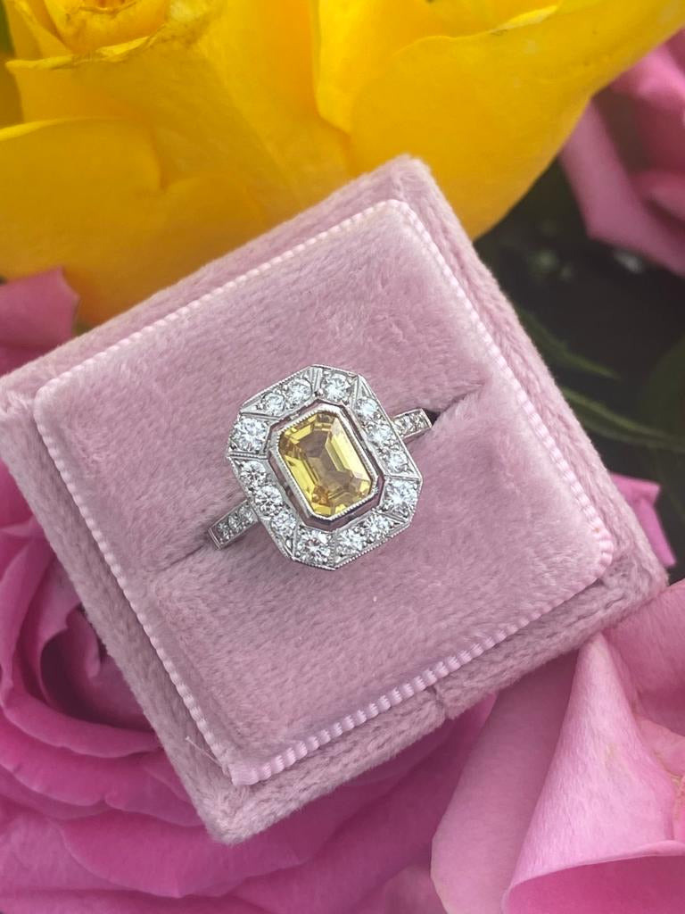 1.25 Carat Yellow Sapphire and Diamond Halo Ring in Platinum