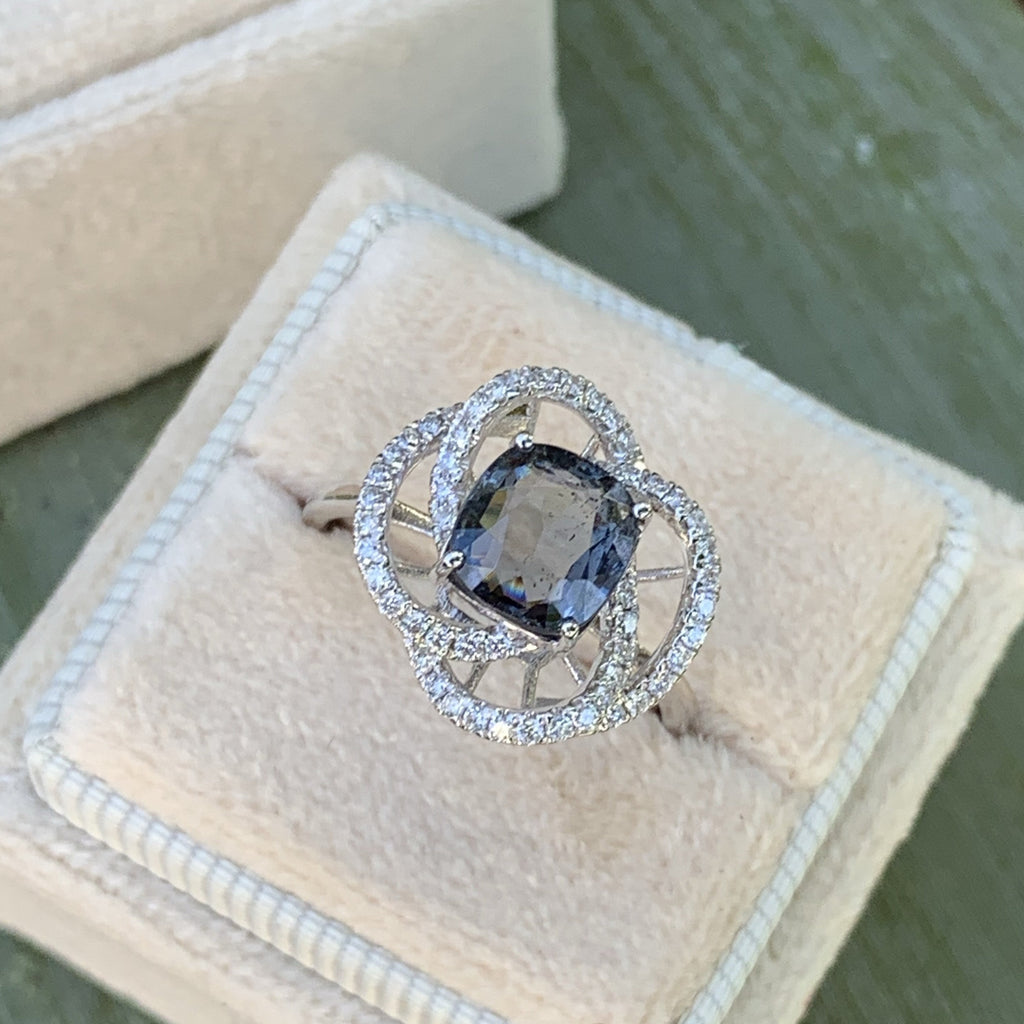 1.97 Carat Blue Spinel and Diamond Halo RIng in 14K Gold