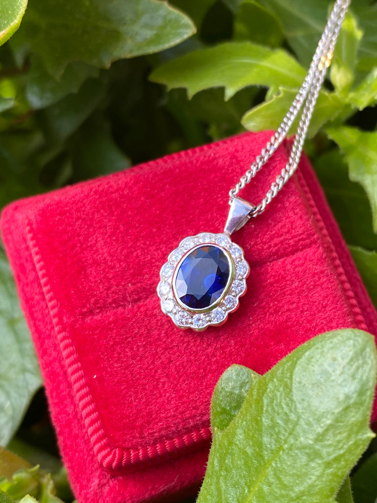 Sapphire and Diamond Pendant Necklace in 18K White Gold