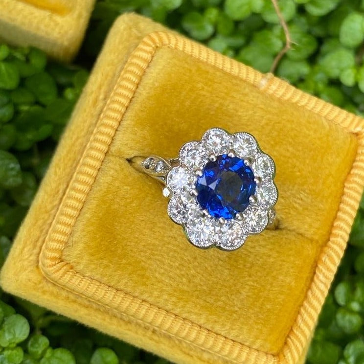 1.65 Ceylon Blue Sapphire and Diamond Halo Ring in Platinum