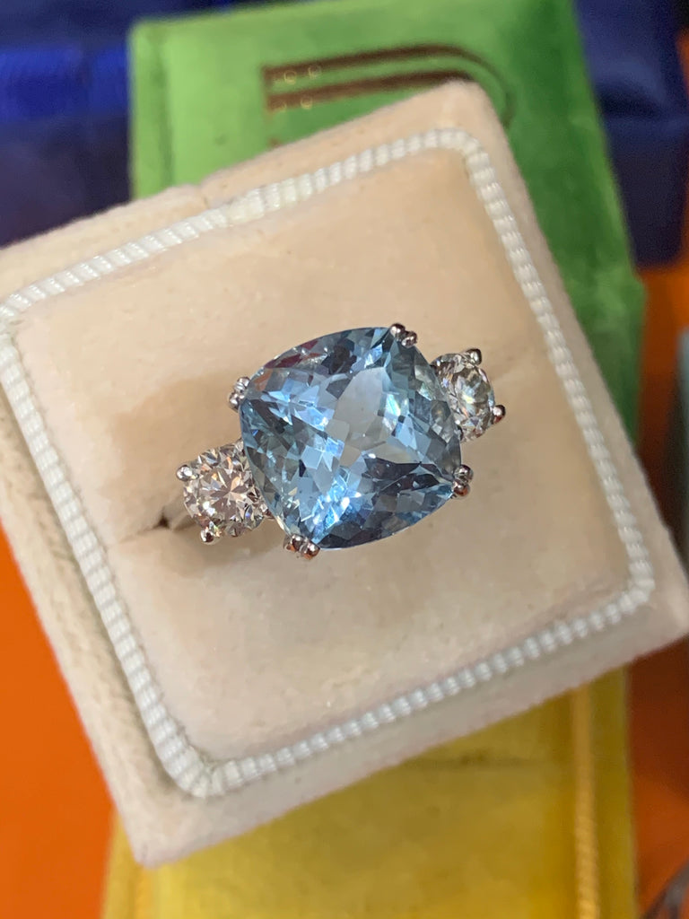Aquamarine and diamond three stone ring