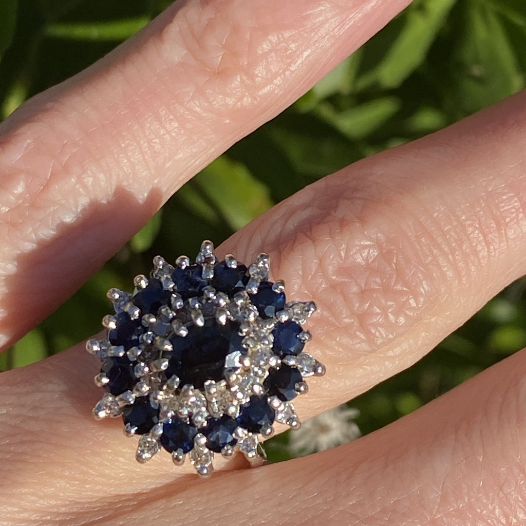 2.00 CTW Blue Sapphire and Diamond Halo Ring