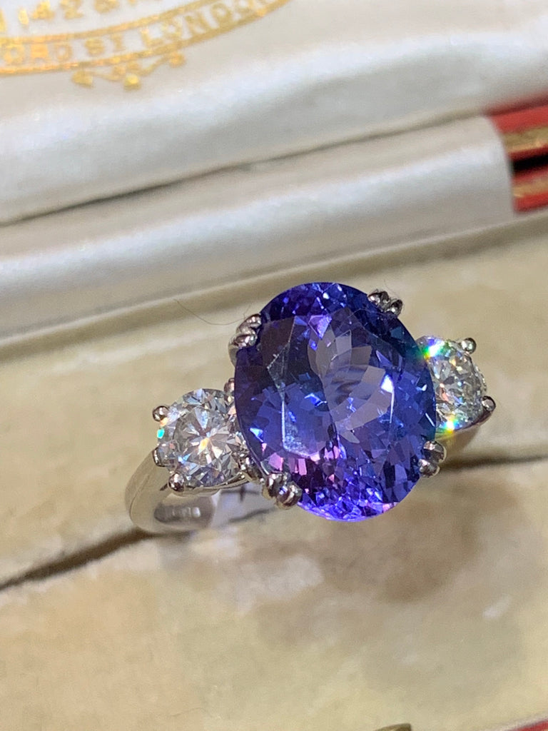 4.2 Carat Tanzanite and Diamond Ring
