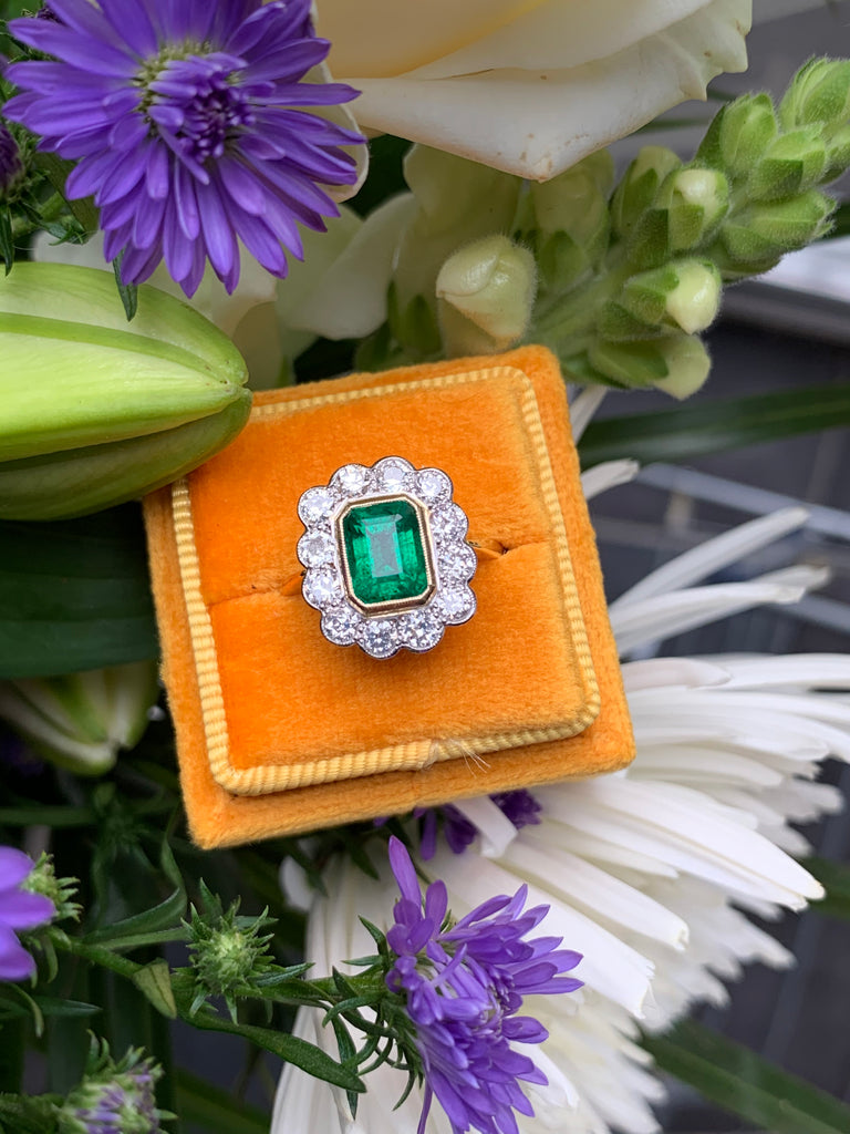 1.75 Carat Emerald and Diamond Halo Ring in 18ct Yellow Gold