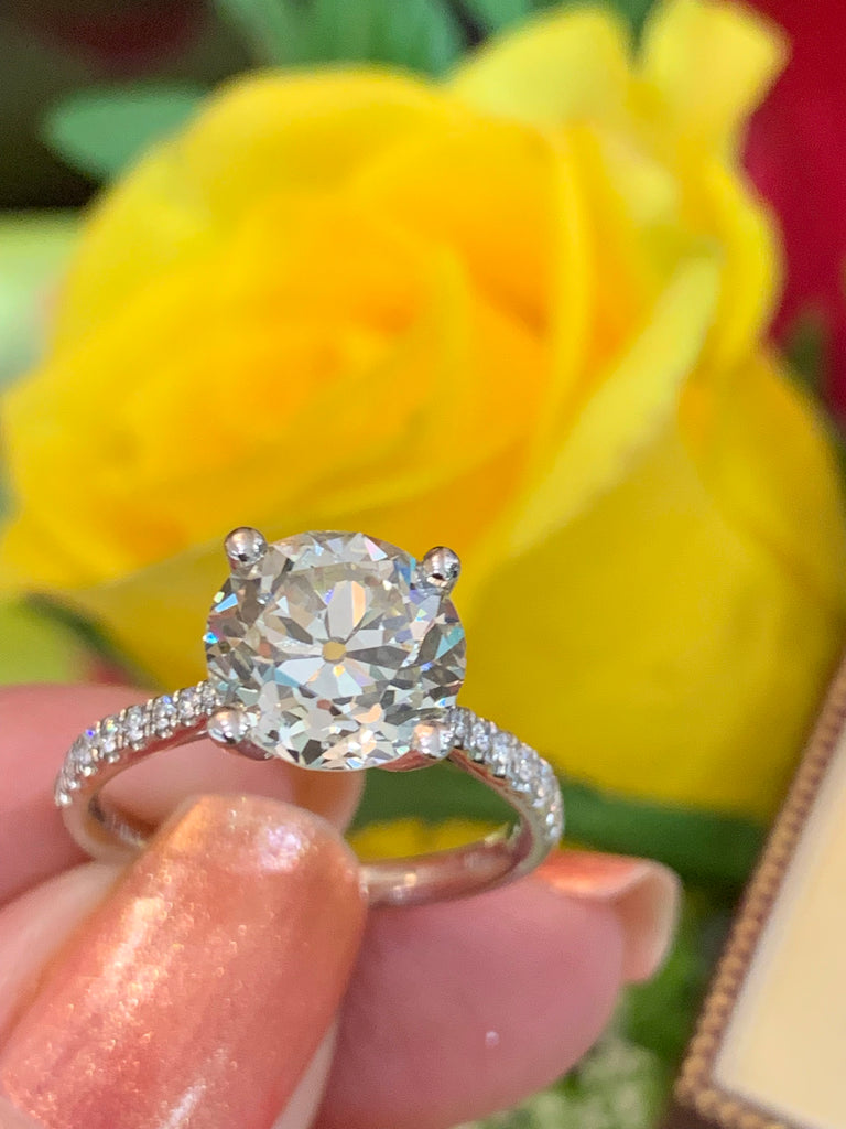 3.1 Old Euro Cut Diamond Engagement Ring in 18K White Gold