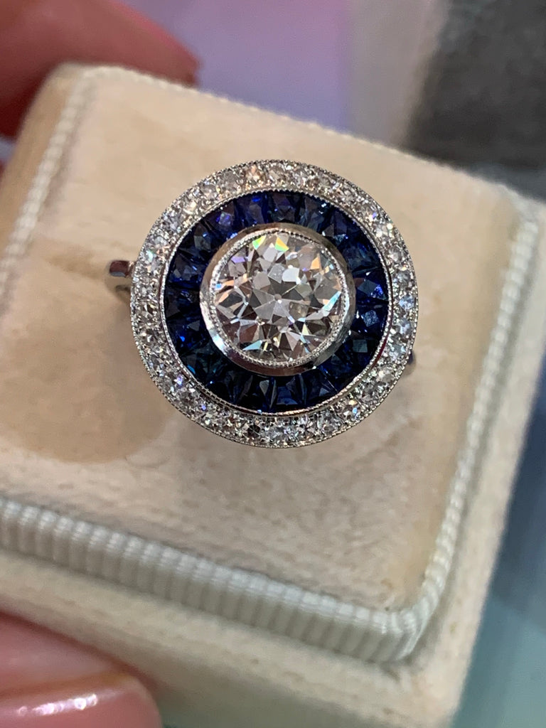 1.30 Carat Old Cut Diamond and Blue Sapphire Halo Ring in 18ct White Gold