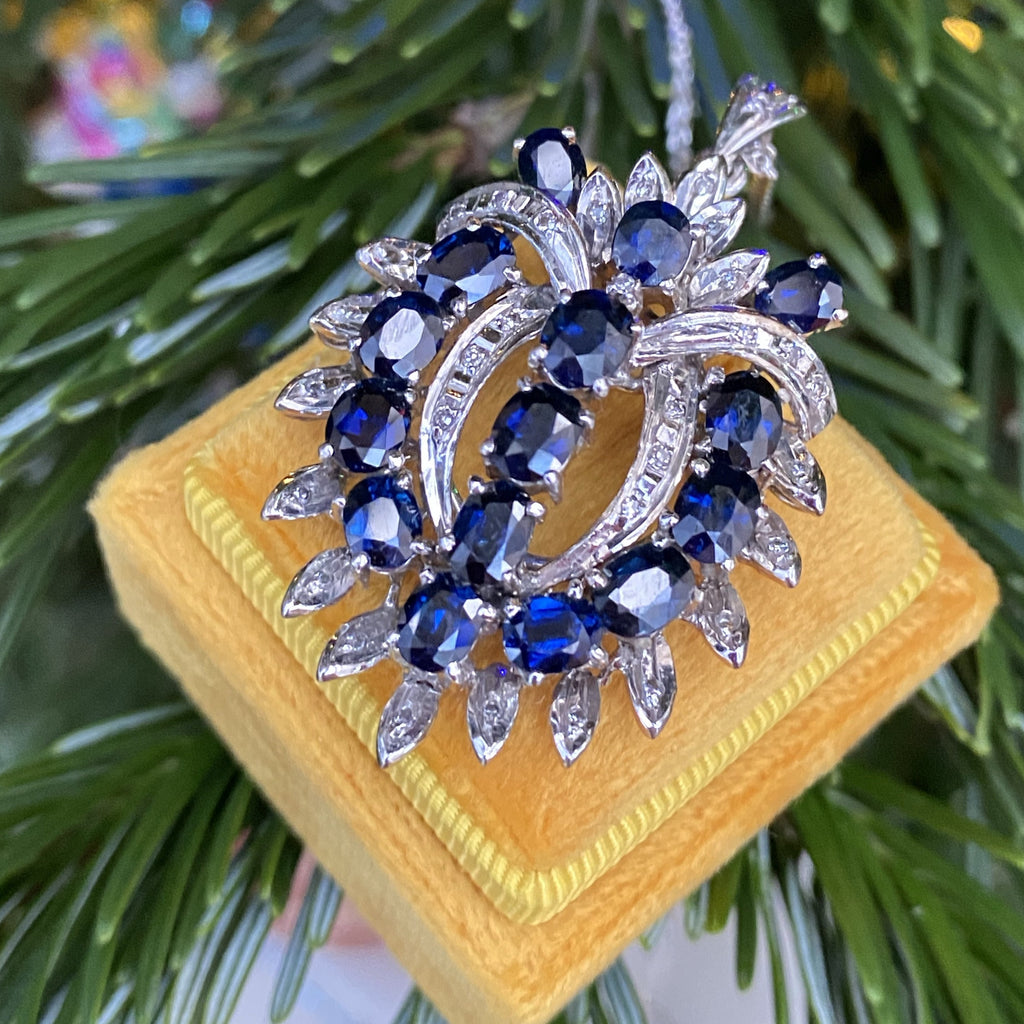 Vintage Blue Sapphire and Diamond Brooch in White Gold