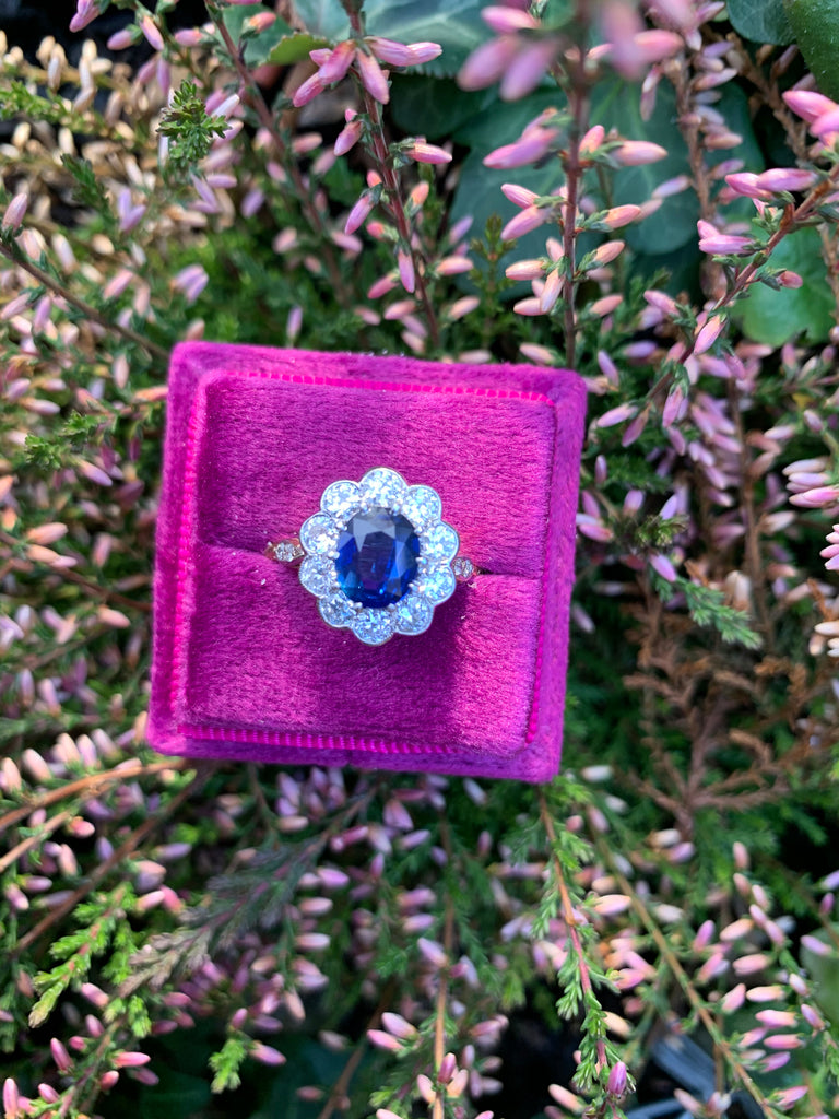 1.75 Carat Blue Ceylon Sapphire and Diamond Ring in 18ct Gold