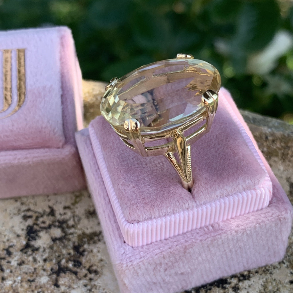 25 Carat Citrine Cocktail Ring in Yellow Gold