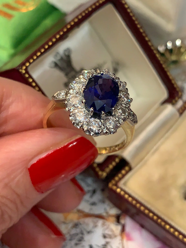 Magnificent Sapphire and Diamond Cluster Ring
