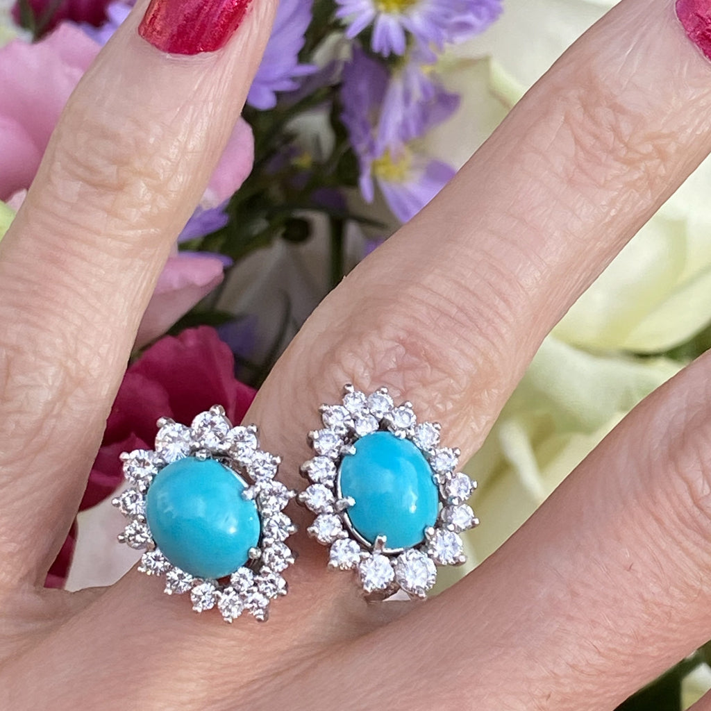 Sleeping Beauty Turquoise and Diamond Cocktail Ring