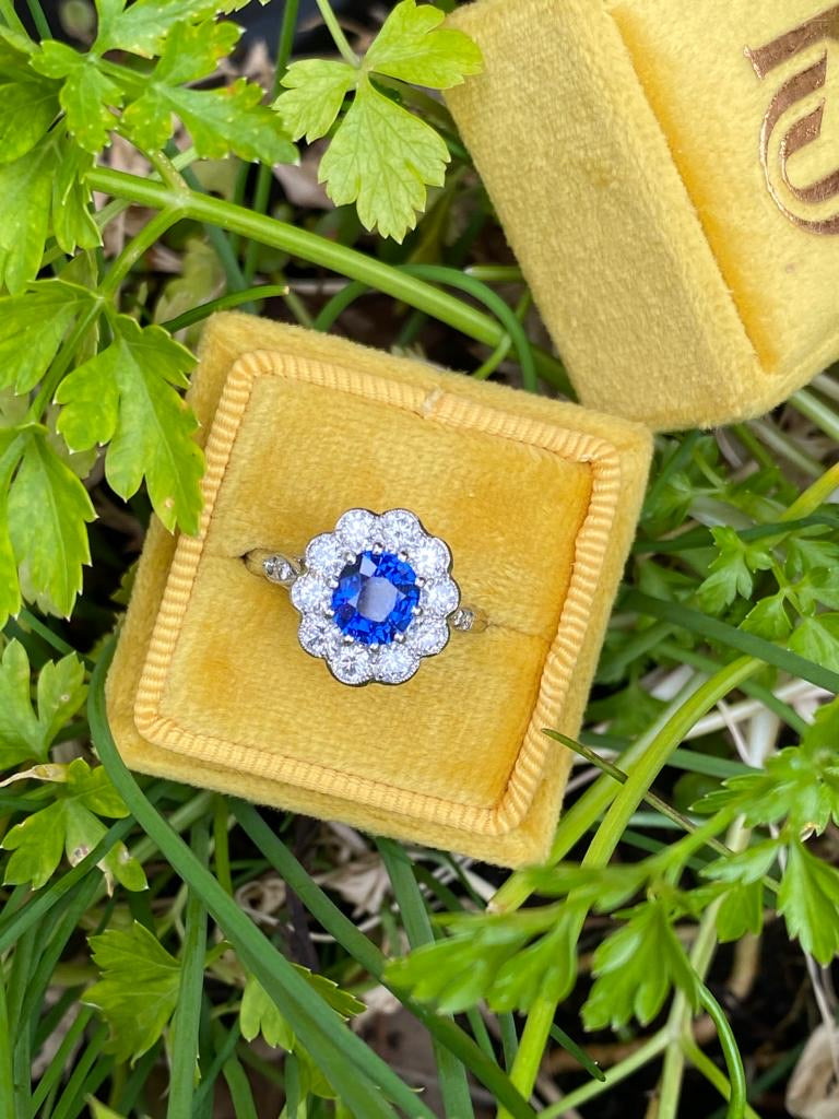 1.65 Carat Blue Sapphire and Diamond Halo Ring in Platinum