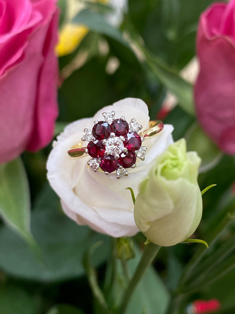 1.00 CTW Ruby and Diamond Vintage Flower Cluster Halo Engagement Ring