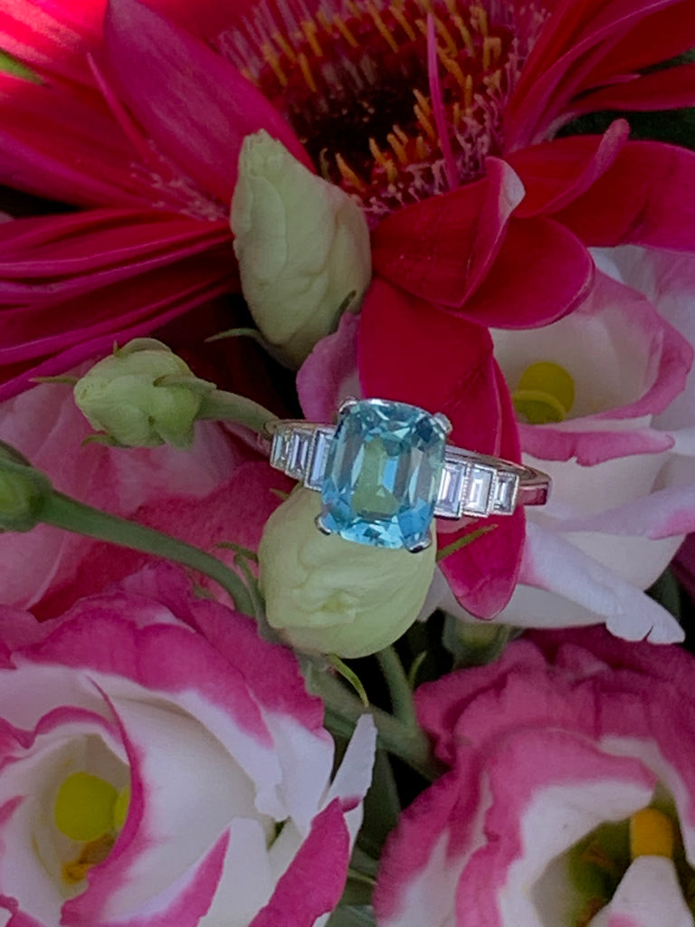 2.50 Carat Blue Tourmaline and Diamond Ring in Platinum