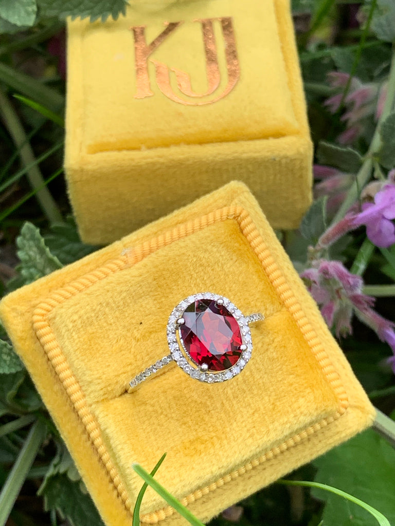 Beautiful Garnet and Diamond Halo Ring
