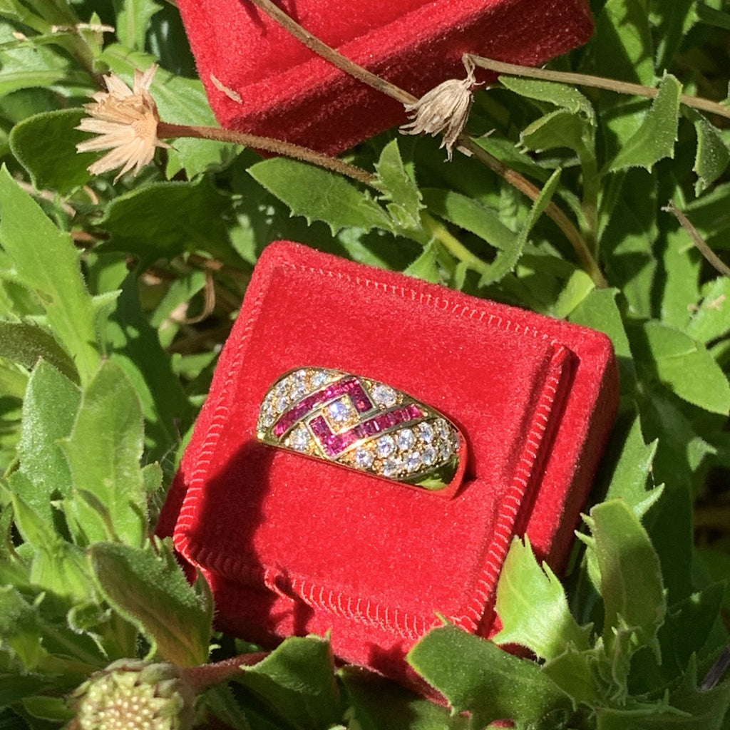 Ruby and Diamond Anniversary Ring in 18ct Yellow Gold