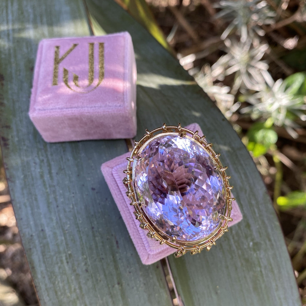 75 Carat Kunzite and Sapphire Cocktail Ring in 18K Yellow Gold