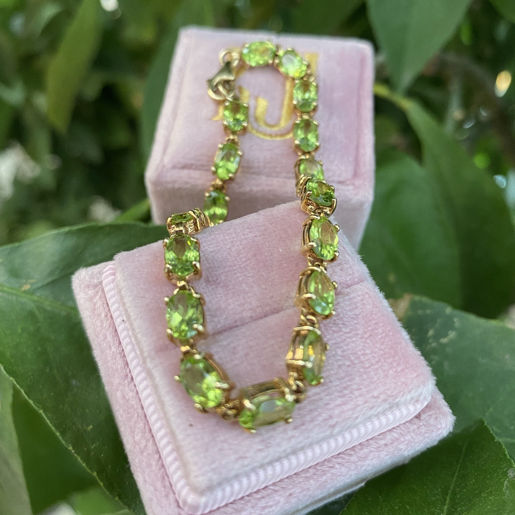 Peridot and Gold Tennis Line Bracelet