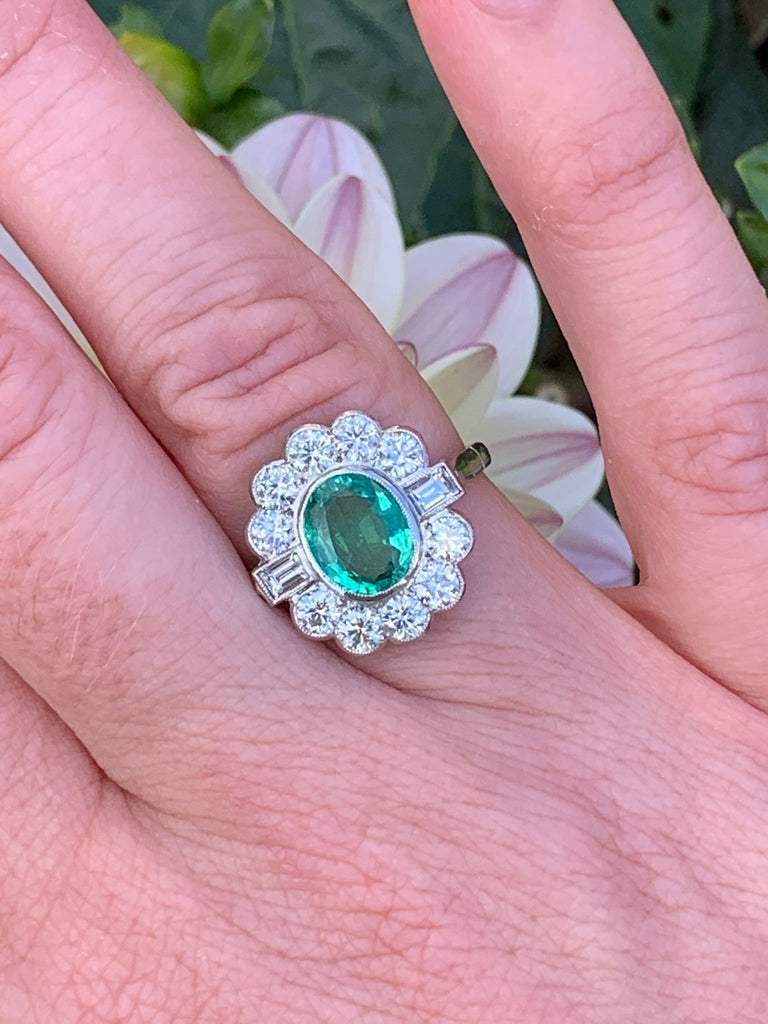 1.25 Carat Emerald and Diamond Cluster Ring in Platinum