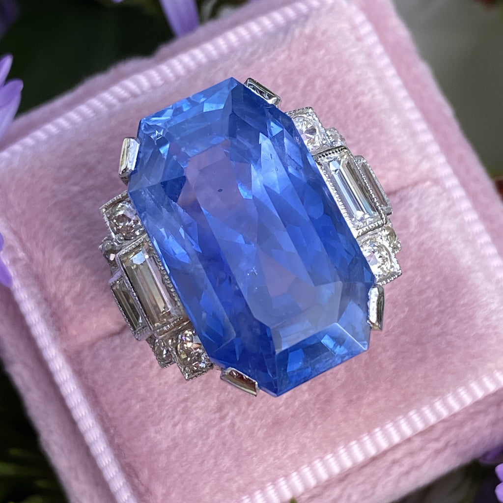 Unheated Blue Ceylon Sapphire and Diamond Art Deco Engagement Ring