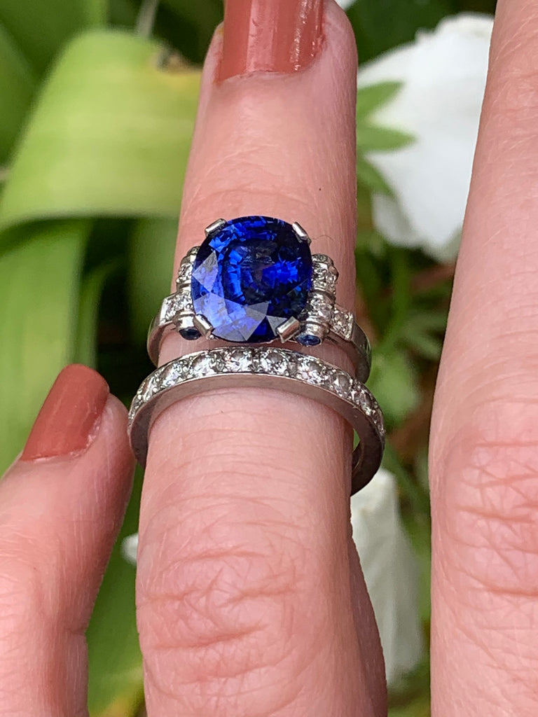 Vintage French Sapphire and Diamond Ring