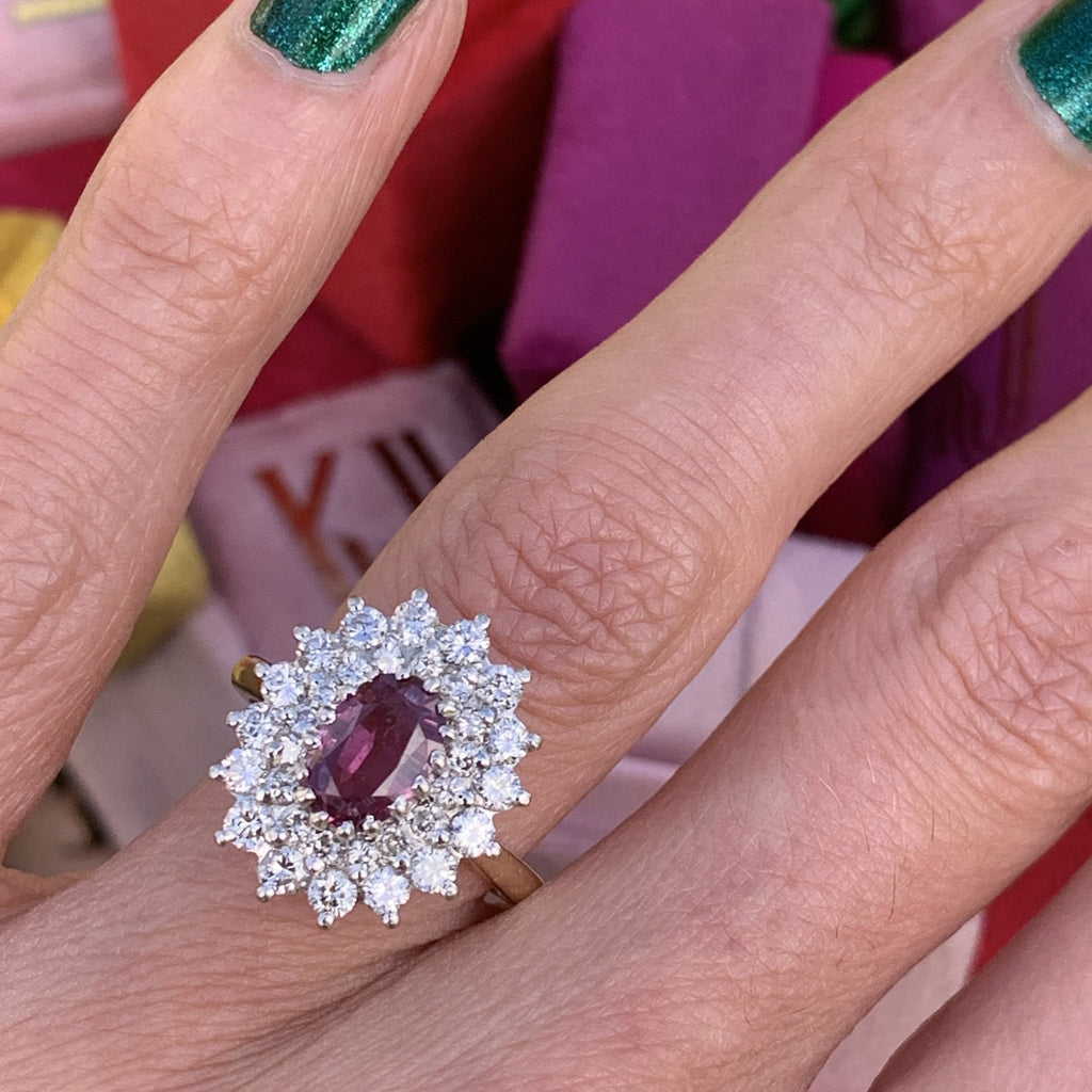 0.86 Carat Vintage Oval Ruby and Diamond Halo Ring in 18K Gold