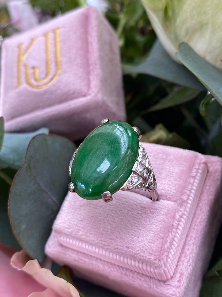 Antique Art Deco Jade and Diamond Cocktail Ring in Platinum