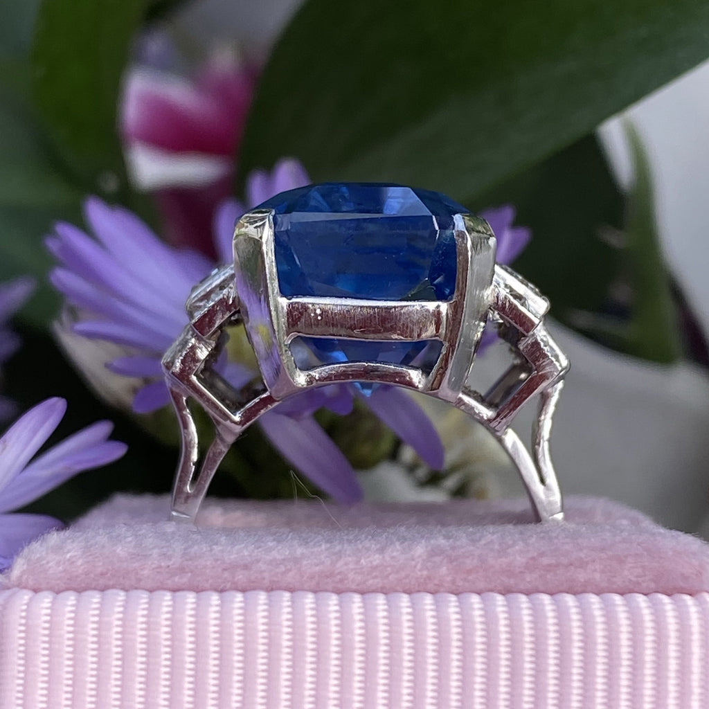 21.36 Carat Certified Unheated Blue Ceylon Sapphire and 1 Carat Diamond Ring