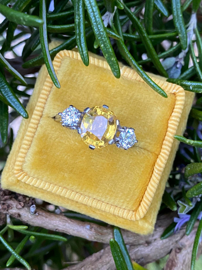Gorgeous Yellow Sapphire and Diamond Ring