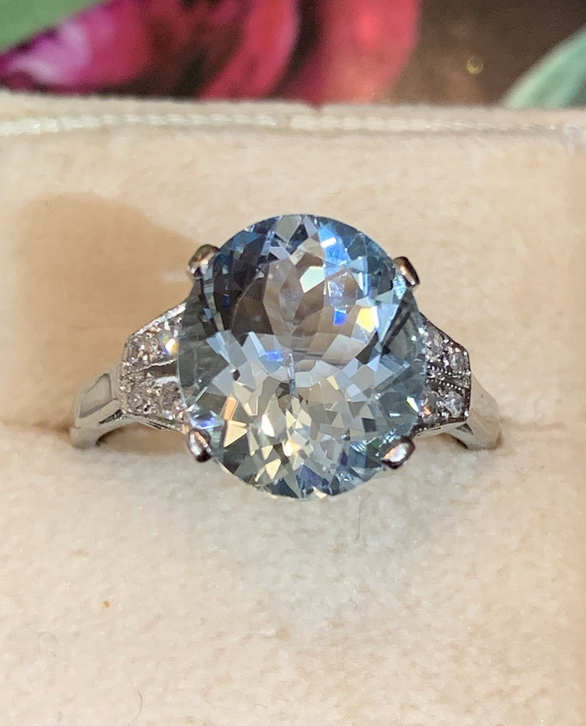 4 Carat Aquamarine and Diamond Ring in Platinum