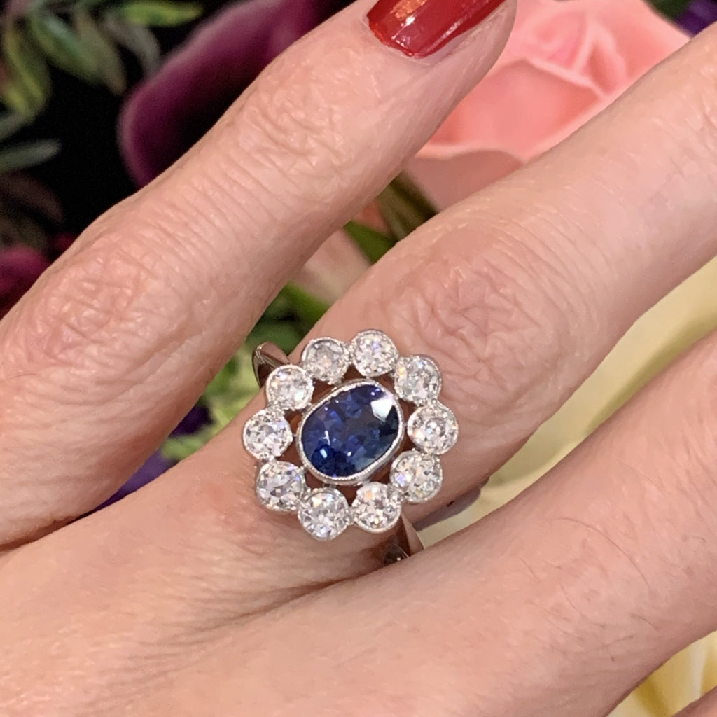 1.40 Carat Blue Ceylon Sapphire and Diamond Halo Ring in Platinum