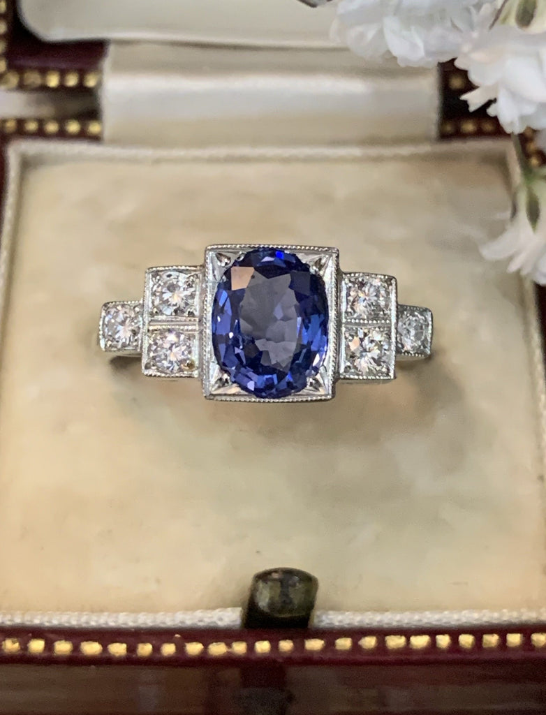 1.25 Carat Ceylon Blue Sapphire and Diamond Art Deco Ring in Platinum