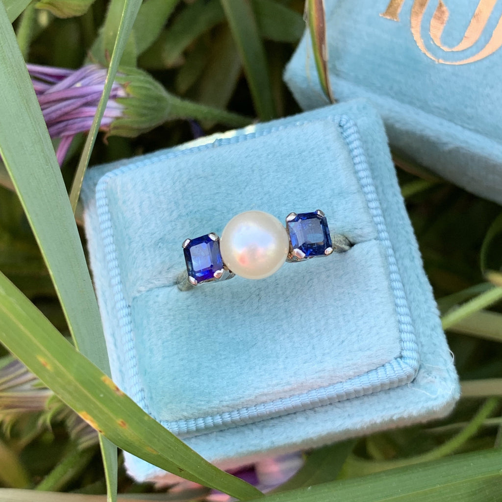 Pearl and Blue Sapphire Platinum and 18K Gold Ring