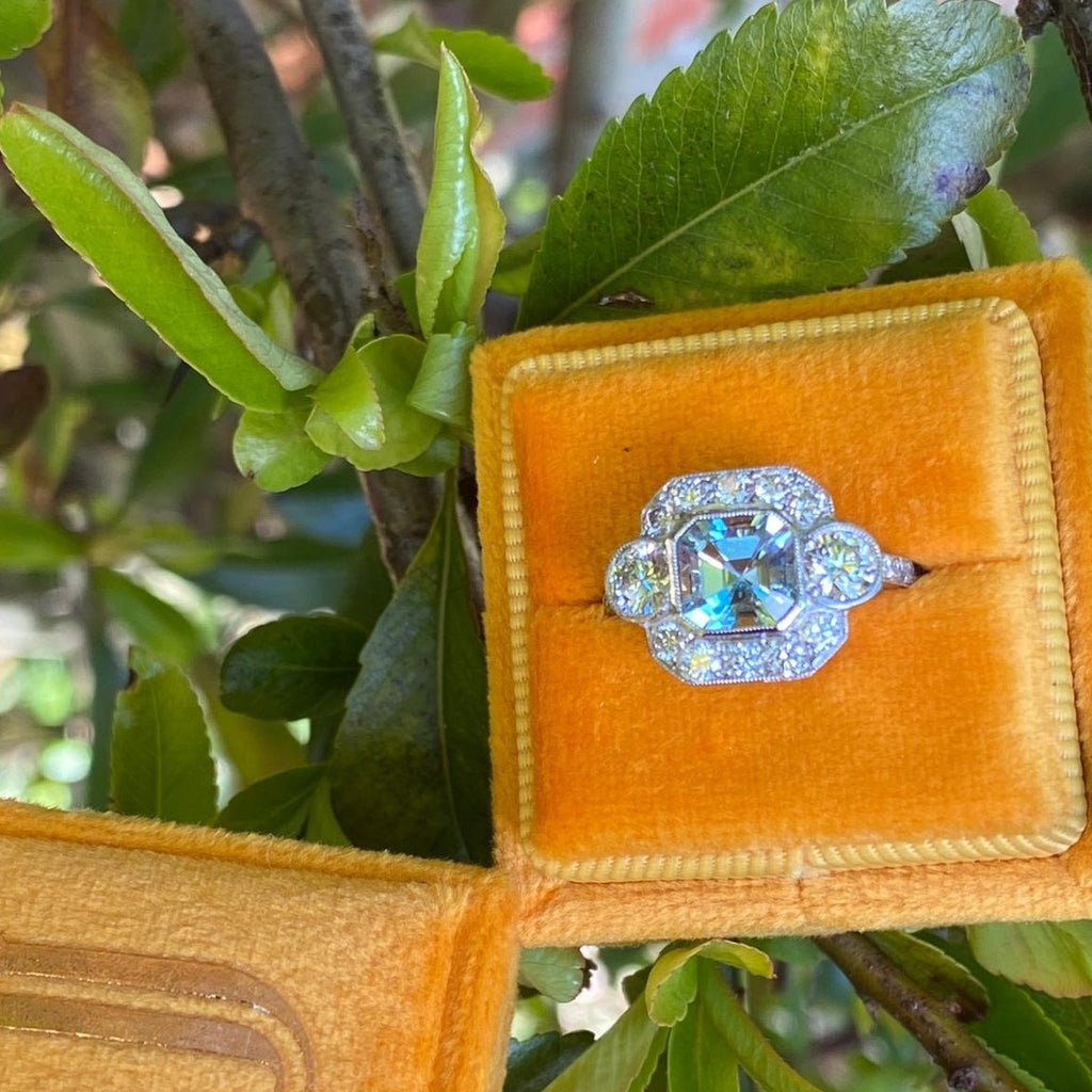 1.25 Carat Asscher Cut Aquamarine and Diamond Art Deco Ring