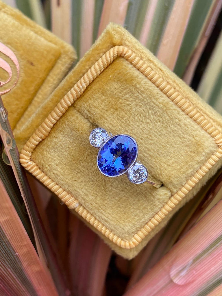 1.25 Tanzanite and Diamond 3-Stone Ring