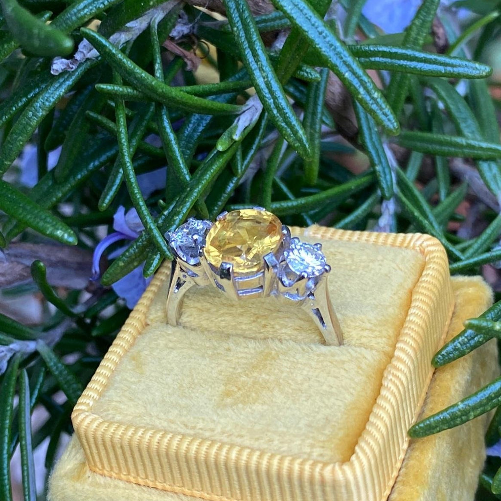 3.80 Carat Yellow Sapphire and Diamond Three Stone Ring in Platinum