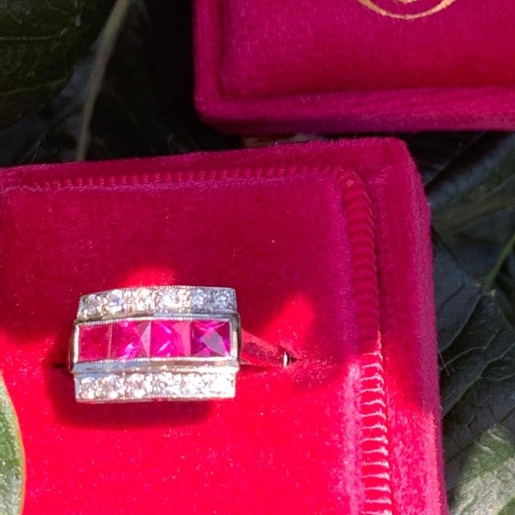 1.20 CTW Ruby and Diamond Anniversary Ring in Platinum