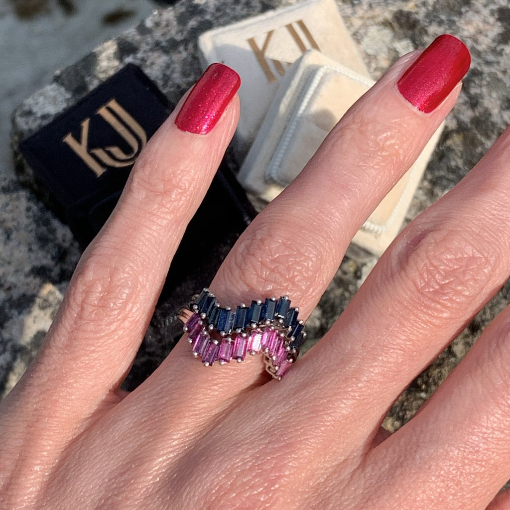 Ruby and Blue Sapphire Baguette Band Rings in 18K White Gold