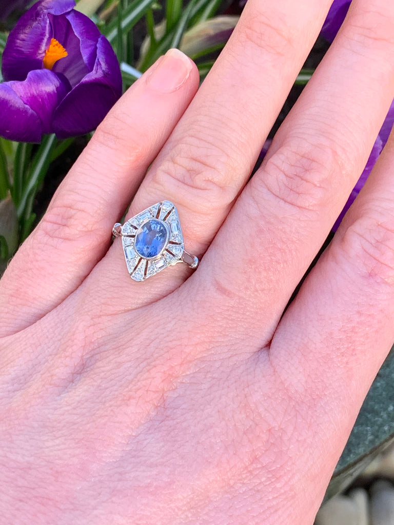 1.30 Carat Blue Ceylon Sapphire and Diamond Art Deco Engagement Ring