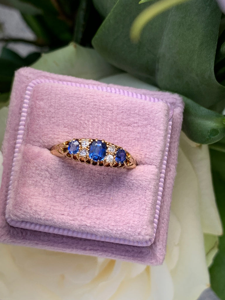Beautiful Antique Sapphire and Diamond Eternity Ring