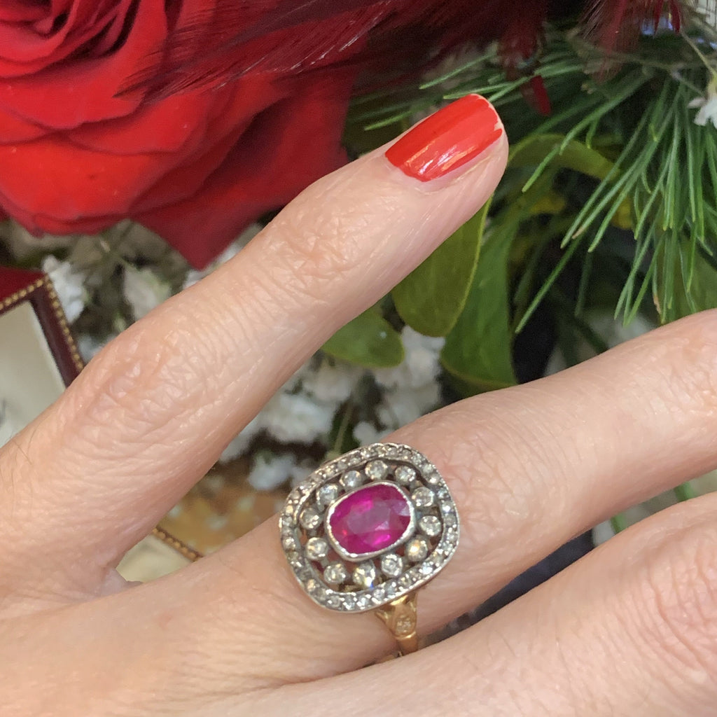 1.00 Carat Ruby and Diamond Ring in Silver and 18K Yellow Gold